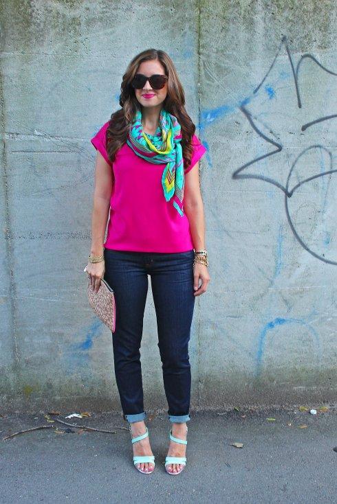 La Mariposa: Palm Springs Turquoise & Pink scarf