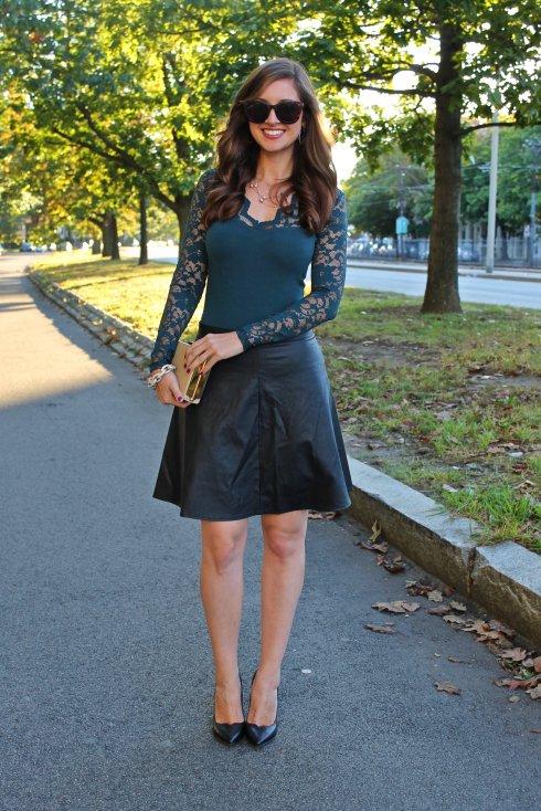 La Mariposa: Green Lace & Black Leather Skirt