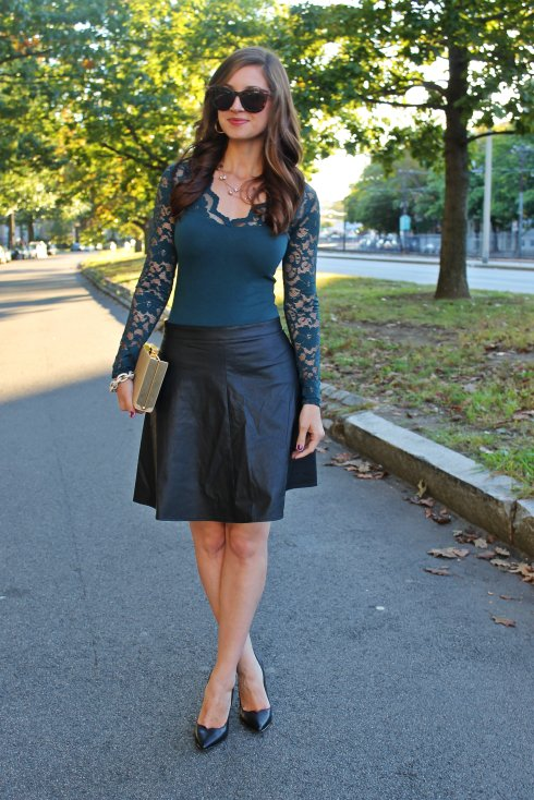 La Mariposa: Green Lace & Black Leather Skirt