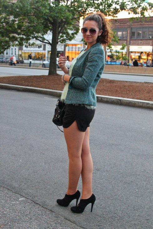 La Mariposa: Black Suede Cutout Shorts