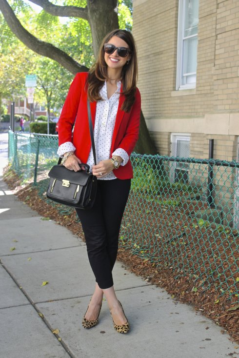 La Mariposa: Red blazer with black & white