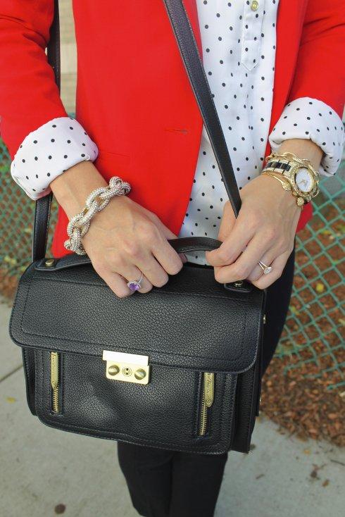 La Mariposa: Red blazer with black & white