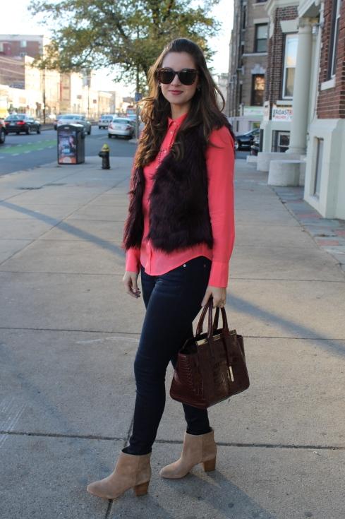 La Mariposa: Burgundy Fur Vest with contrasting coral blouse