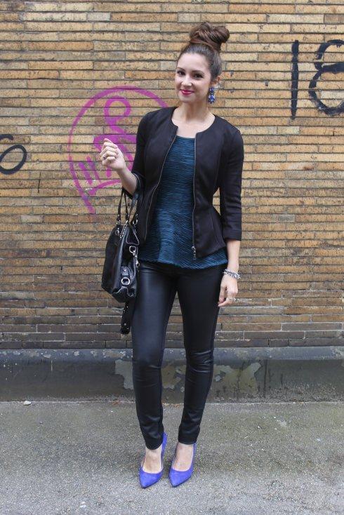 La Mariposa: Turquoise and Black Peplum