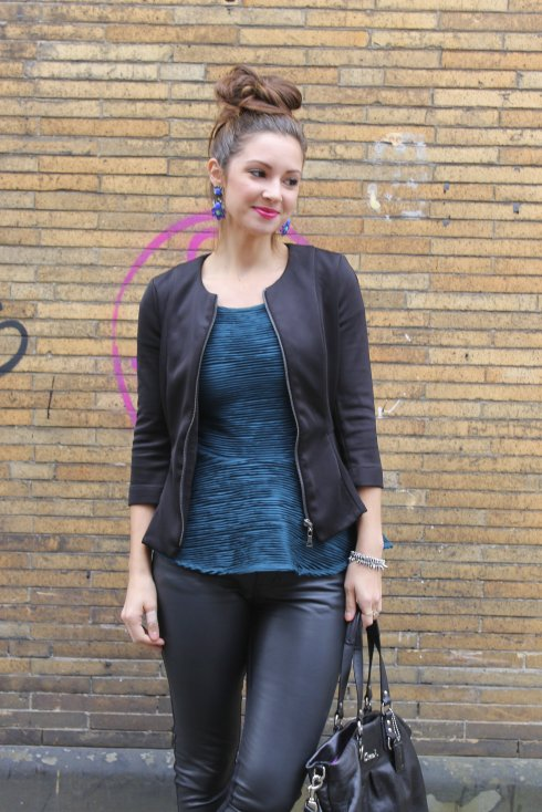La Mariposa: Turquoise and Black Peplum