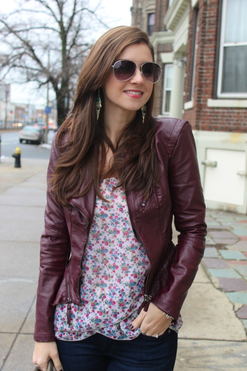 floral blouse & edgy blazer