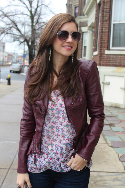 floral blouse & edgy blazer