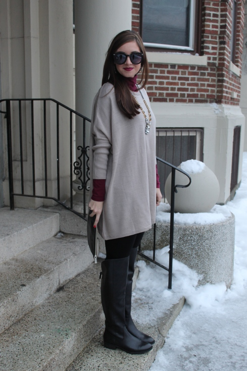 La Mariposa: Oversized Sweater and OTK Boots